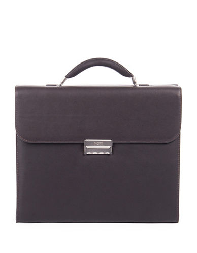 Bugatti Sartoria Small Leather Briefcase-BROWN-One Size