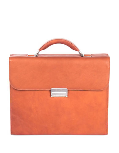 Bugatti Sartoria Small Leather Briefcase-COGNAC-One Size