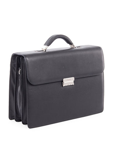 Bugatti Sartoria Medium Leather Briefcase-BLACK-One Size