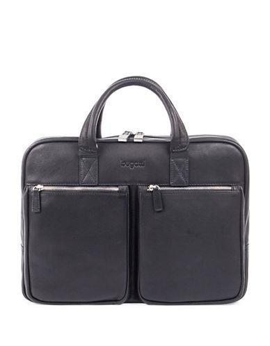 Bugatti Sartoria Zipper Leather Briefcase-BLACK-One Size
