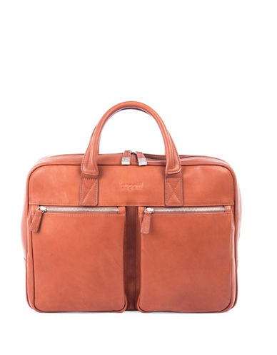 Bugatti Sartoria Zipper Leather Briefcase-COGNAC-One Size