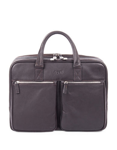 Bugatti Sartoria Large  Zipper Leather Briefcase-BROWN-One Size