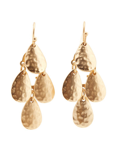 Jones New York Small Hammered Chandelier Earring-GOLD-One Size
