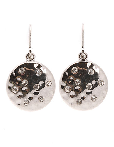 Jones New York Round Disk With Crystal Earring-SILVER-One Size