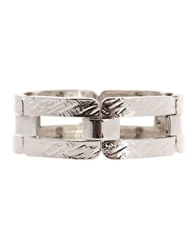 Jones New York Hammered Rectangular Stretch Bracelet-SILVER-One Size
