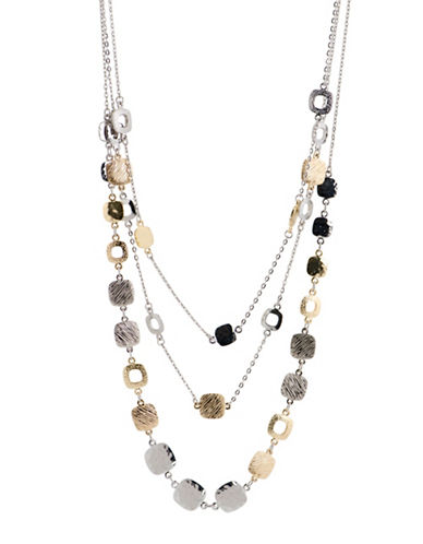 Jones New York Two-Tone Textured Triple Layer Long Necklace-TWO TONE-One Size
