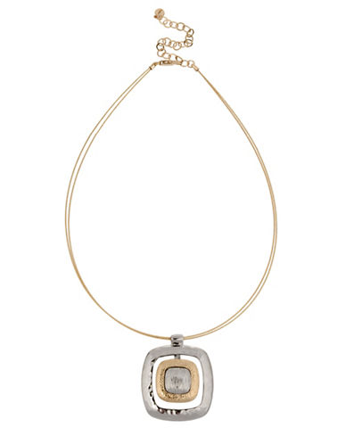 Jones New York Two-Tone Textured Open Frame Pendant Necklace-ASSORTED-One Size