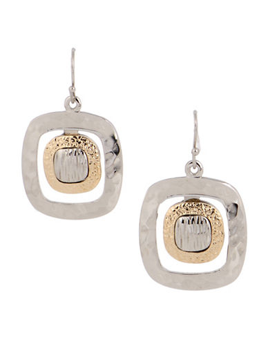 Jones New York Two-Tone Textured Open Frame Drop Earrings-ASSORTED-One Size