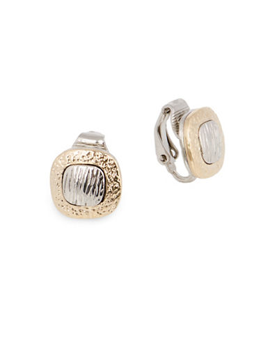 Jones New York Two-Tone Hammered Clip-On Earrings-TWO TONE-One Size
