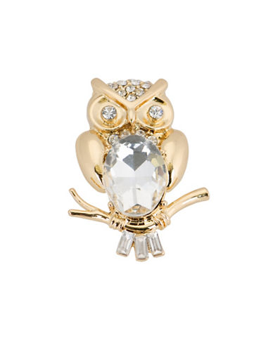 Jones New York Boxed Faceted Stone Owl Pin-GOLD-One Size