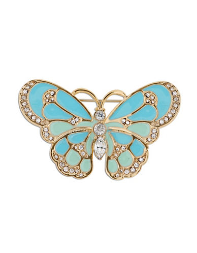Jones New York Boxed Epoxy and Glass Stone Butterfly Pin-BLUE-One Size