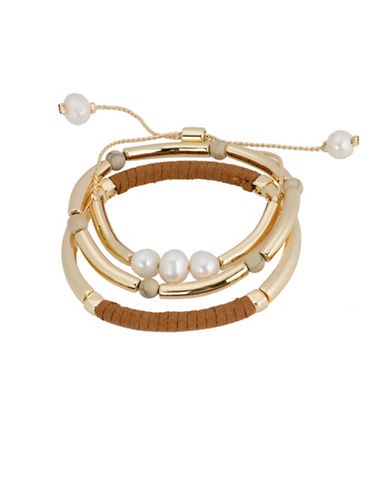 Jones New York Three-Piece Faux Pearl and Gold Bar Stretch Bracelets Set-ASSORTED-One Size
