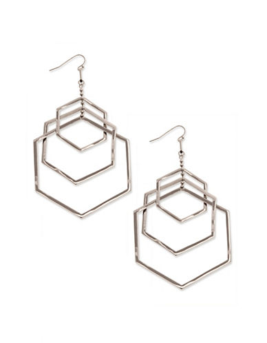 Coco Lane Triple Drop Hexagon Earrings-SILVER-One Size