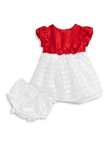 Image of 4ever Free Colourblock Stripe Dress with Bloomers-RED-12 Months