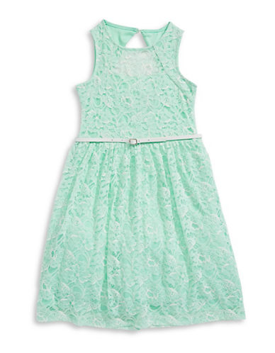 Image of 4ever Free Floral Lace Fit-and-Flare Dress-MINT-10