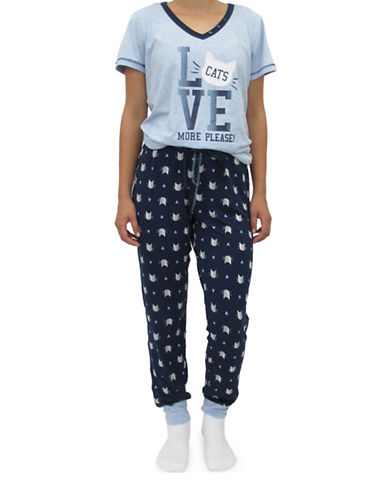 Emily And Jane Cat Print Pajama Set-NAVY-Small