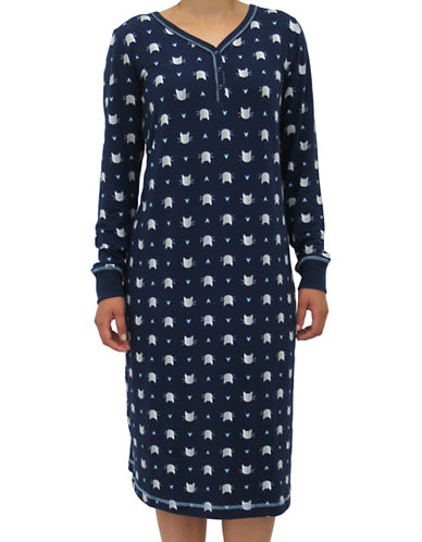 Emily And Jane Crown Print Sleep Shirt-NAVY-X-Large