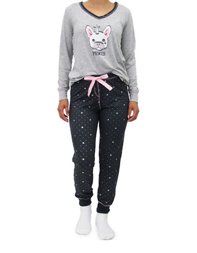 Emily And Jane Cat Pajama Set-GREY-Medium