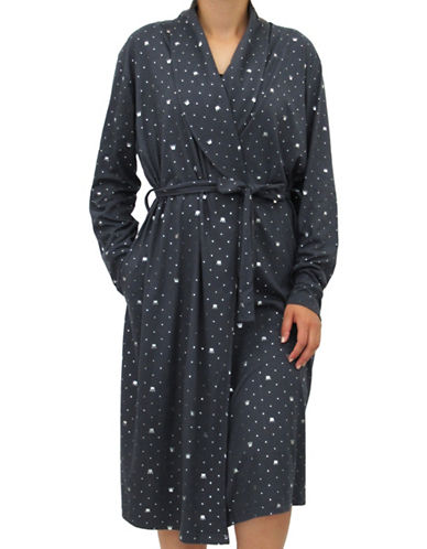 Emily And Jane Crown Print Robe-GREY-Medium