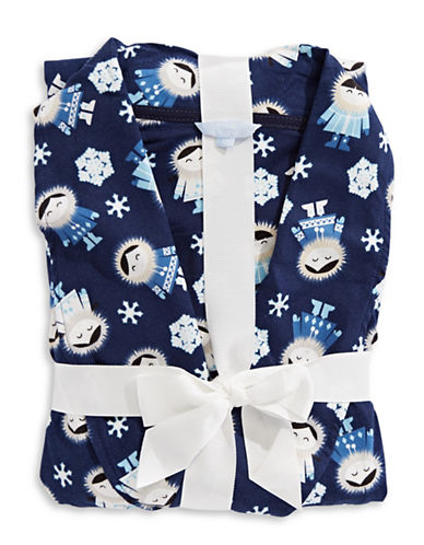 Emily And Jane Crown Print Robe-NAVY-Medium