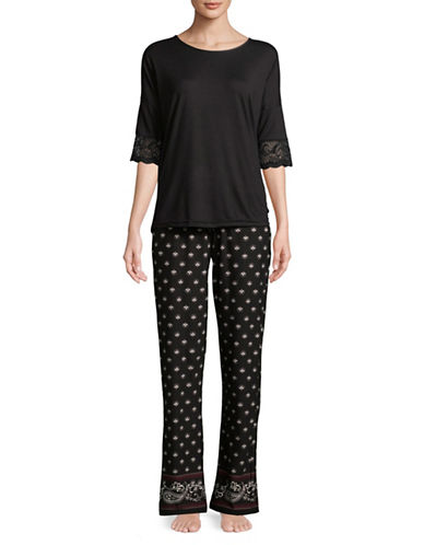 Emily And Jane Scalloped Lace-Trimmed Pyjamas-BLACK-Small