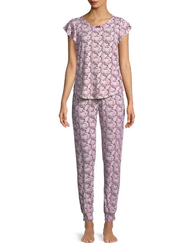 Emily And Jane Two-Piece Heart Pyjama Set-PINK-Small