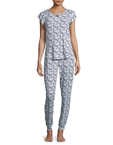 Emily And Jane Two-Piece Heart Pyjama Set-BLUE-X-Large