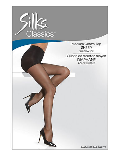 Silks Medium Control Top Pantyhose With Sandalfoot-BLACK-A plus size,  plus size fashion plus size appare