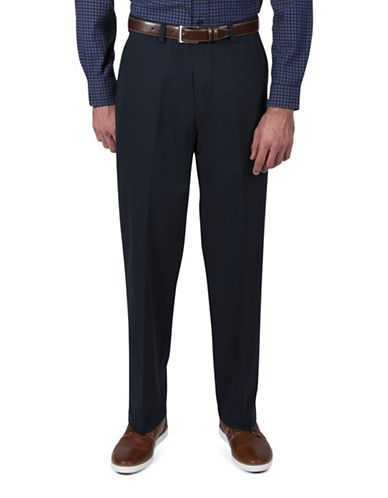 Haggar Classic-Fit Khaki Pants-NAVY-42X29