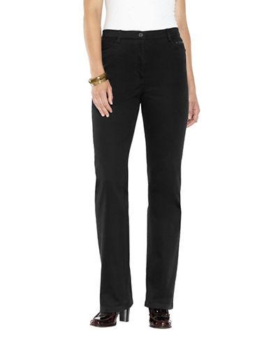 Haggar Petite Curve Control Casual Twill Pant-BLACK-Petite 12