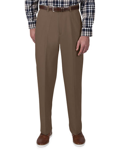 Haggar Classic-Fit Khaki Pants-BROWN-42X29