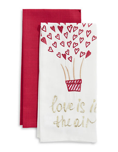Mera Two-Piece Love Is In The Air Kitchen Towel Set-RED-Kitchen Towel