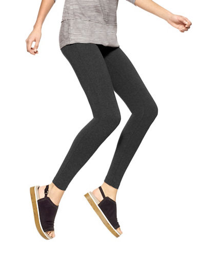 Hue Basic Ankle Length Leggings-GREY-Large