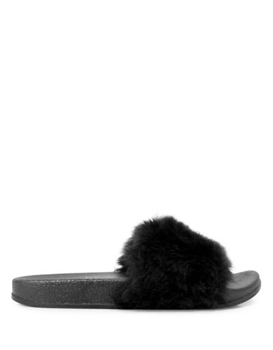 Pretty You London Faux Fur Slippers-BLACK-Small