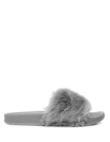 Pretty You London Faux Fur Slippers-GREY-Medium