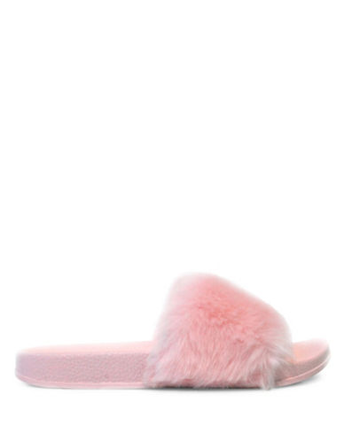 Pretty You London Faux Fur Slippers-PINK-Medium