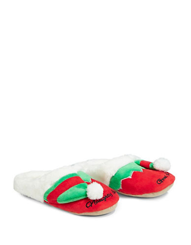 Pretty You London Faux Fur-Trimmed Naughty Elf Slipper Clogs-RED-X-Large