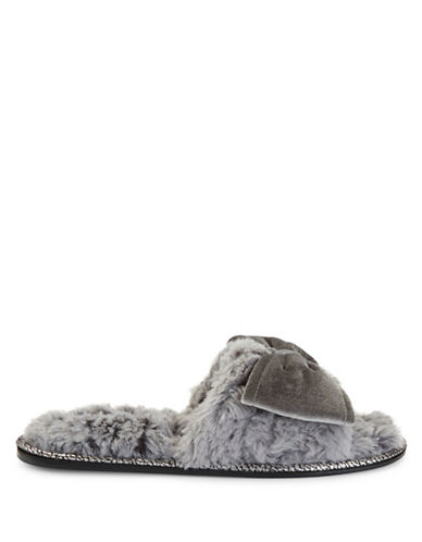 Pretty You London Bow Faux Fur Slippers-GREY-Large