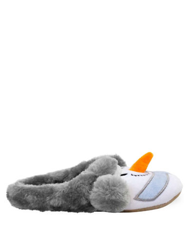 Pretty You London Snowman Mule Slippers-WHITE/BLUE-Small