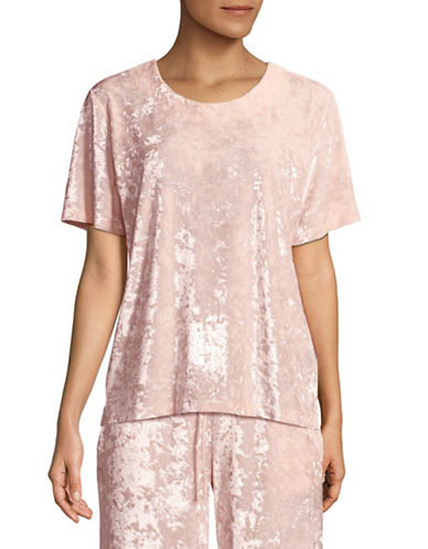 Hue Crushed Velvet Tee-PINK-Medium