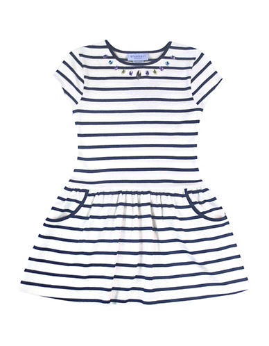 Blueberi Boulevard Bejeweled Striped Fit-and-Flare Dress-NAVY-4