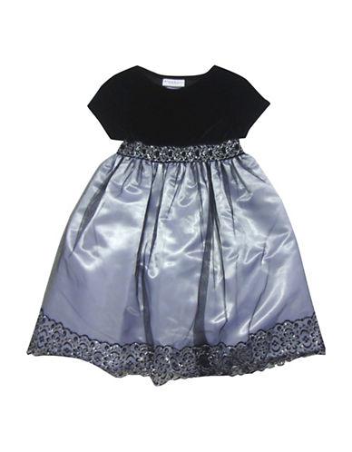 Blueberi Boulevard Mesh Overlay Sparkle Dress-BLACK/GREY-6X