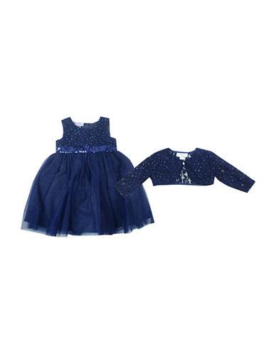 Blueberi Boulevard Two-Piece Dress and Shrug Set-NAVY-6X
