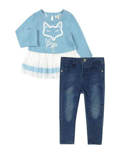 Jessica Simpson Quilted Sweater and Jeans Set-BLUE-18 Months