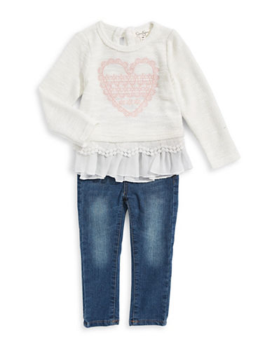 Jessica Simpson Two-Piece Heart Sweater and Jeans Set-WHITE-12 Months
