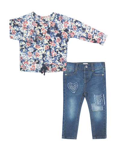 Jessica Simpson Set of Two Floral Printed Top and Jeans Set-BLUE-12 Months