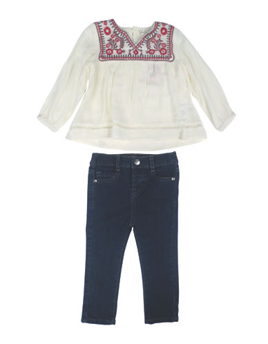 Jessica Simpson Set of Two Embroidered Top and Jeans Set-WHITE-18 Months