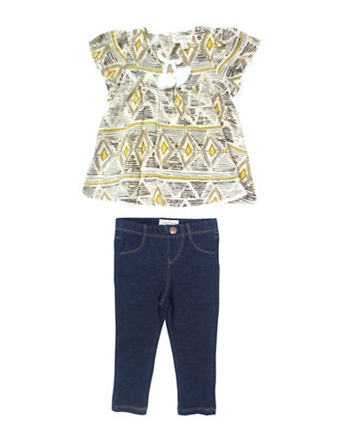 Jessica Simpson Two-Piece Feather Top and Pants Set-GREY-12 Months