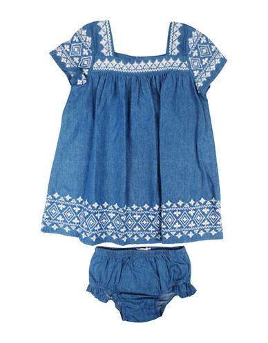 Jessica Simpson Two-Piece Embroidery Dress Set-DENIM-18 Months