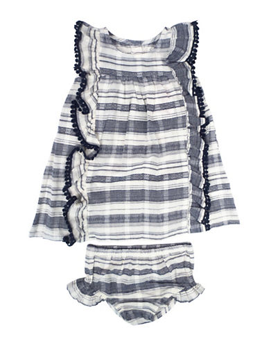 Jessica Simpson Two-Piece Slub Stripe Dress Set-NAVY-18 Months